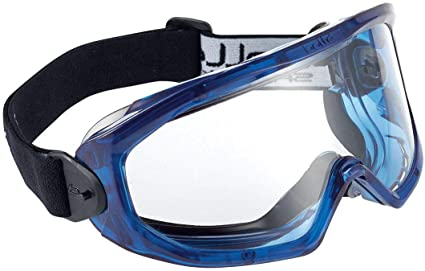 Blue safety goggles
