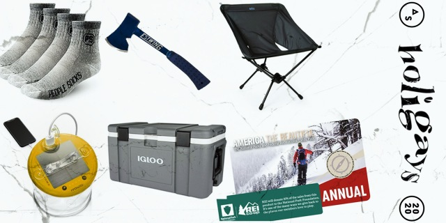 A collage of outdoors things that you could buy a loved one this holiday season — from wool socks, to an axe, and so many in between!