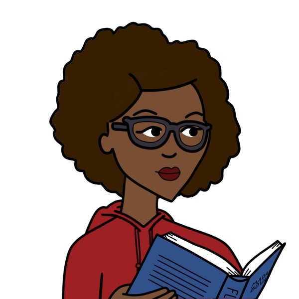 A Daria-style photo of Carmen Phillips as an Avatar. She has brown skin and a large dark brown afro and glasses. She is wearing a red hoodie, with lipstick to match, and reading a book.