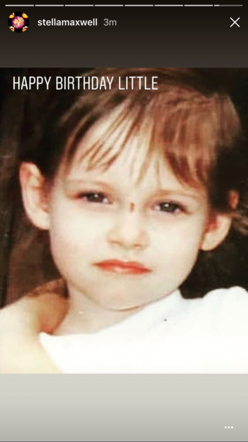 """An Instagram story posted by Stella Maxwell. The image is of Kristen Stewart as a small child with the caption """"HAPPY BIRTHDAY LITTLE"""""""