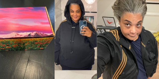 A three-fold collage of an Ivy Park box from Beyonce, then two photos of Roxane Gay wearing the all black line.