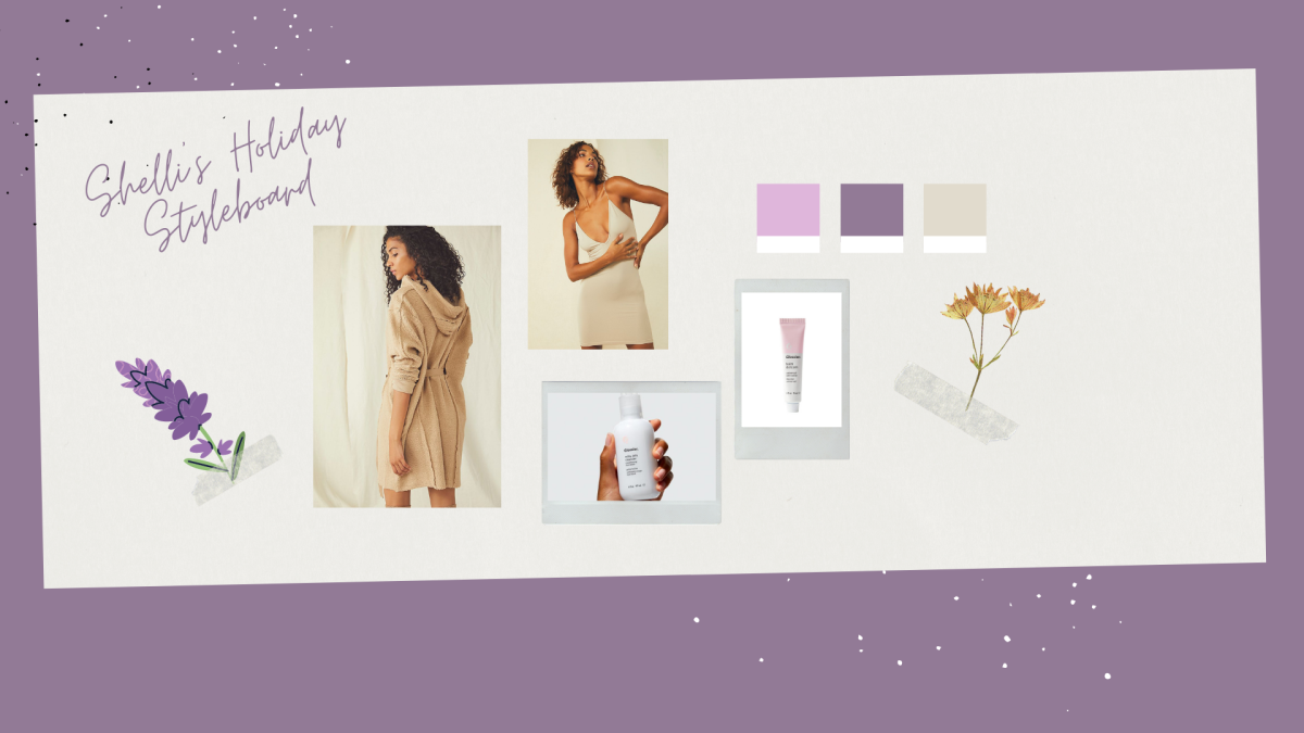 A collage of photos that shows a woman in a khaki colored chunky sweater with a hood, a cream colored slip, a hand holding a facial cleanser and a photo of a pink tinged lip balm. Also in the collage is a drawing of lavender and a pressed flower.