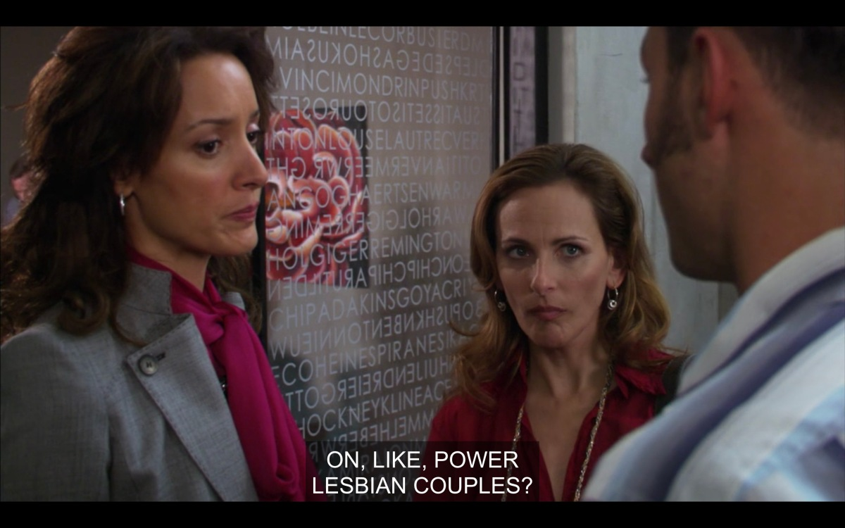 Jodi and Bette talking to James outside of Bette's office