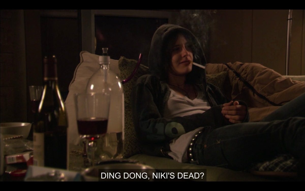 "Shane in a hoodie on the sofa, very stoned, saying ""Ding Dong, Niki's dead"""