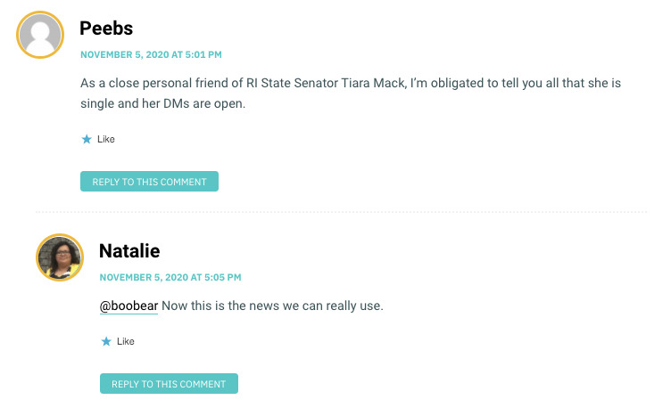 As a close personal friend of RI State Senator Tiara Mack, I'm obligated to tell you all that she is single and her DMs are open.