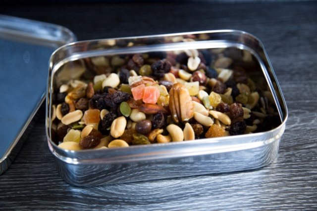 A tin containing mixed nuts and dried fruit