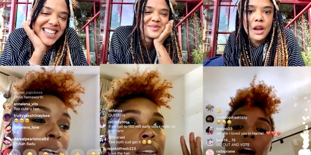 A collage of Tessa Thompson and Janelle Monáe on Instagram Live together. Tessa Thompson's hair is in braids and she is smiling. Janelle Monáe's short red hair is framing her face. They are laughing and smiling together.