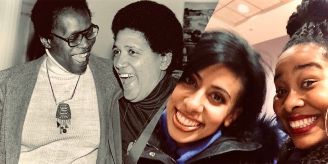 A collage of Audre Lorde with Pat Parker, laughing together at a joke, alongside an image of the author and her friend, both smiling wide at the camera.