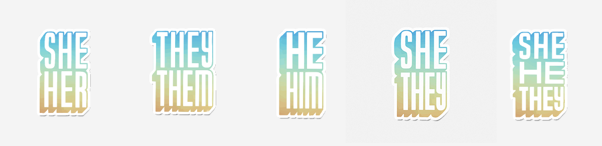"""Vapor Wave Pronoun Stickers """"She/Her, They/Them, He/Him, She/They, She/He/They"""""""