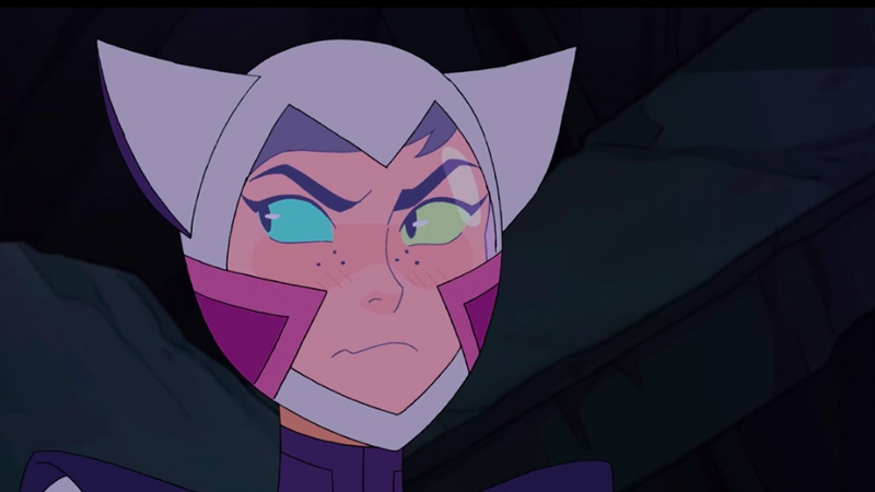 Catra wears a spacesuit with cat ears and looks grumpy