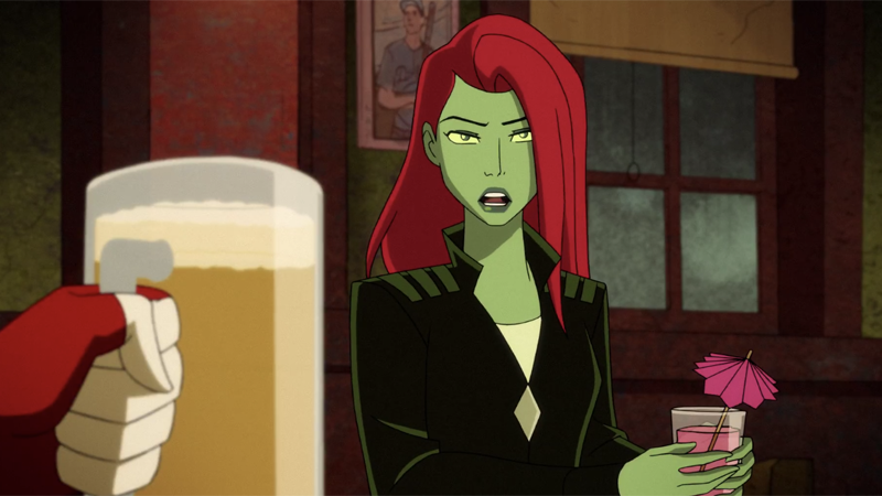 Poison Ivy shares a drink with Harley in a bar