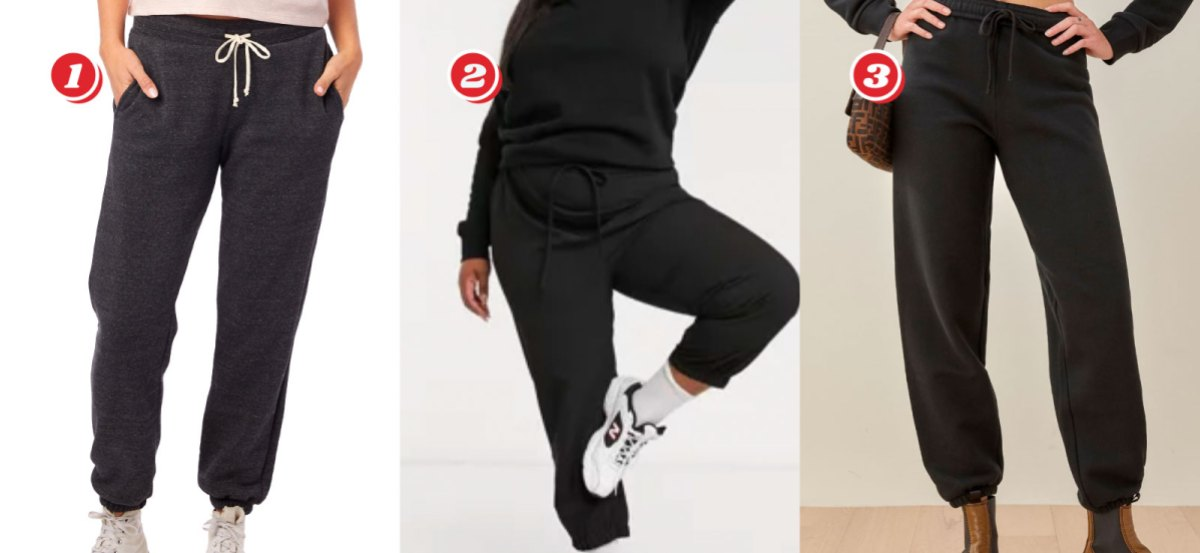 Three pairs of dark grey to black sweatpants: 1. Alternative Apparel Classic Eco-Fleece Sweatpants (XS - XL) - $32.50 from $54 with code 50CYBER, 2. Asos Curve Womens Sweatpants - (12 - 24) $22.50 from $45, 3. The Boyfriend Sweatpant - (XS - XL) $54.60 from $78