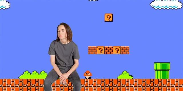 Ellen Page sitting on the ground in screenshot of Super Mario Bros.