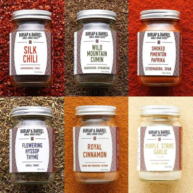 A collection of spices against warm matching backgrounds.
