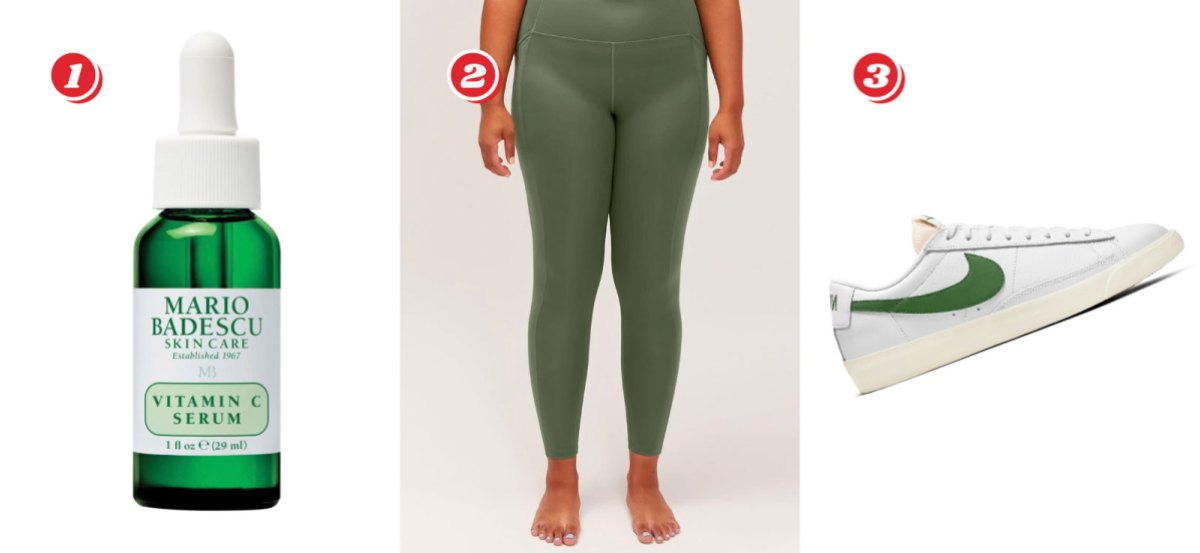1. Mario Badescu Vitamin C Serum $31.50 from $45 // 2. Girlfriend Collective High-Rise Pocket Legging in Green (Sizes 2XS - 6XL) - $46.8 from $78 // 3. Nike Blazer Low-Level Sneakers, White with Green Swoosh - $60 from $75 with code MOREPLSYAY