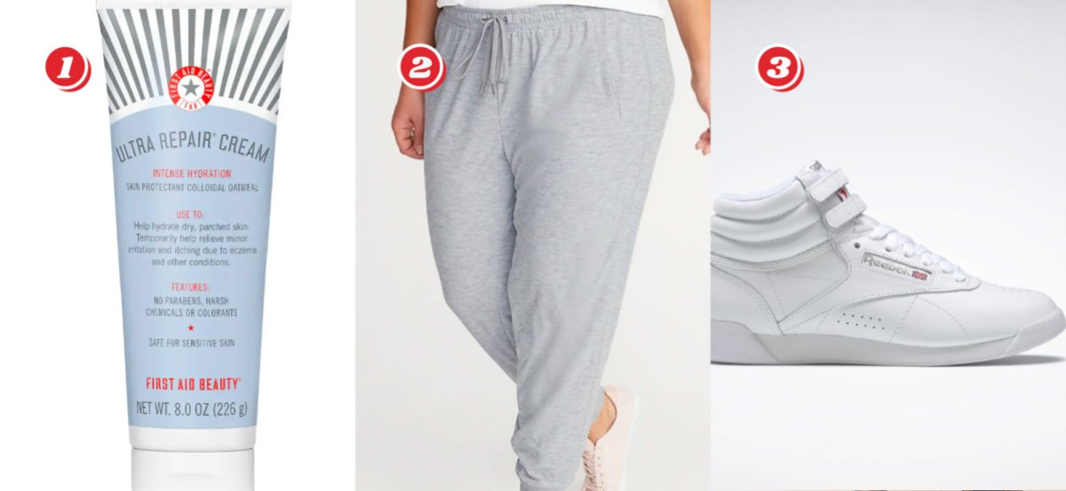 1. First Aid Ultra Repair Cream - $15 from $42, 2. Light Grey Breathe On Plus-Size Jogger Pants - $18.99 from $37.99, 3. White Reebok Freestyle High Women's Shoes $37.50 from $75 with code BFEXCLUSIVE
