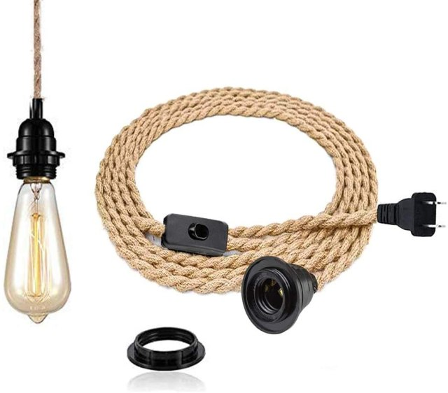 A vintage style teardrop shaped bulb and faux rope cord