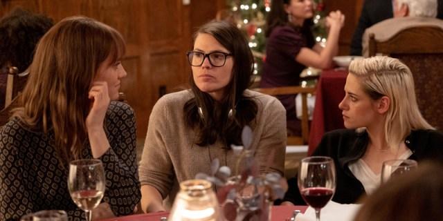 Mackenzie Davis, Clea DuVall, and Kristen Stewart on the set of Happiest Season