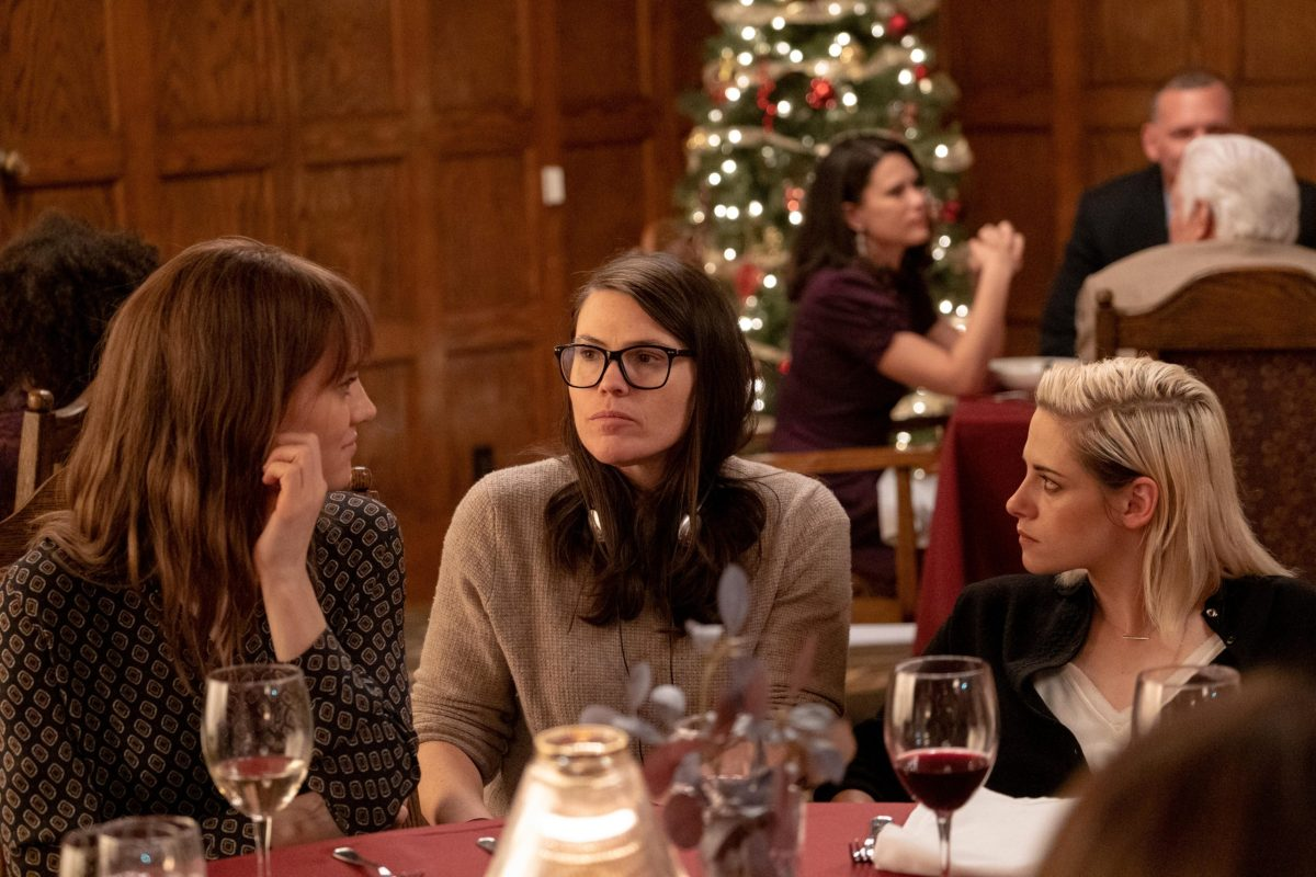 Mackenzie Davis, Clea DuVall, and Kristen Stewart on the set of Happiest Season