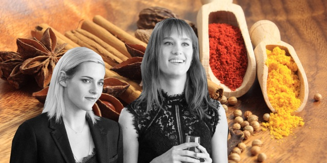 Kristin Stewart (Abby) and MacKenzie Davis (Harper) on a background of spices.