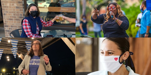 A collage of Sharice Davids, Michele Rayner, Sarah McBride, and Angie Craig.