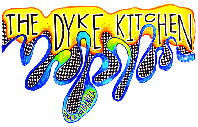 he Dyke Kitchen written over a drippy yellow shape that has checkerboard at the ends
