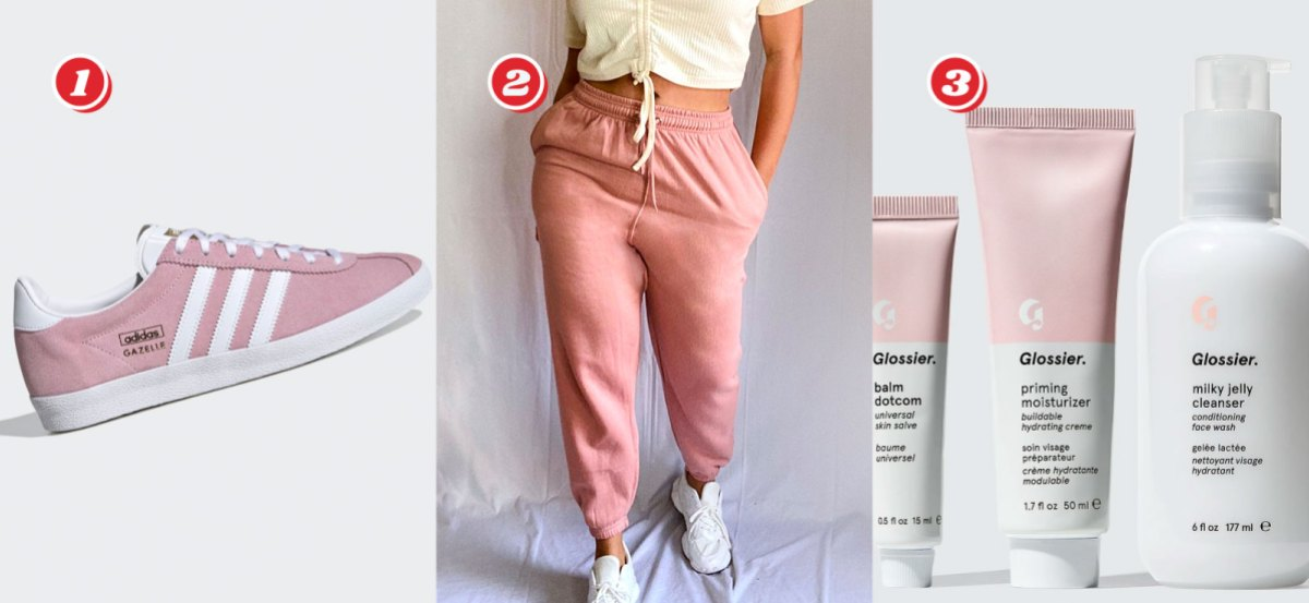 1. Adidas Gazelle OG Shoes in Pink and White - $48 from $80, 2. Plus Pink Toggle Waist Cuff Hem Jogger (Sizes 12 -22) - $25 from $38 (get an extra 10% off with code PLUS10 at Checkout), 3. Glossier 3-Step Skincare Routine - $30 down from $52