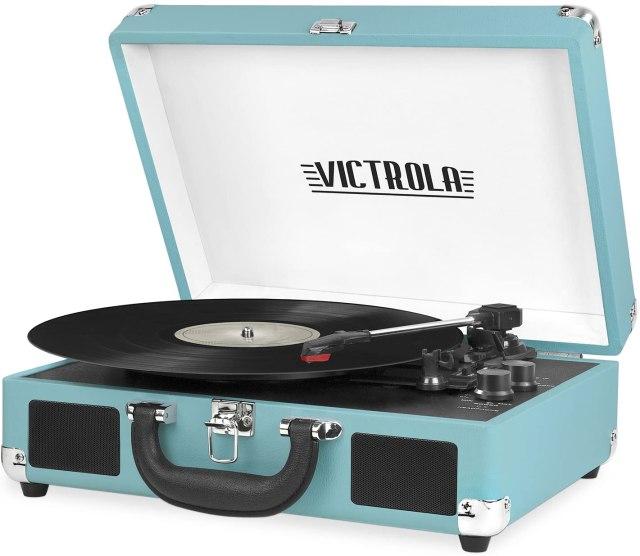 A powder blue record player
