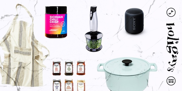 A collage of gifts you can buy for a reluctant pandemic chef, including: An apron, a hand blender, a kitchen speaker, a Dutchmen oven, and a variety of spices.