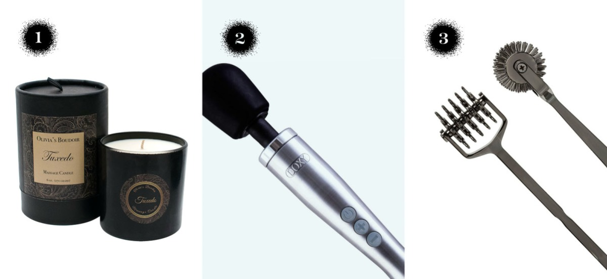 Olivia's boudoir tuxedo massage candle, doxy die-cast wand, and kink spike solid metal.