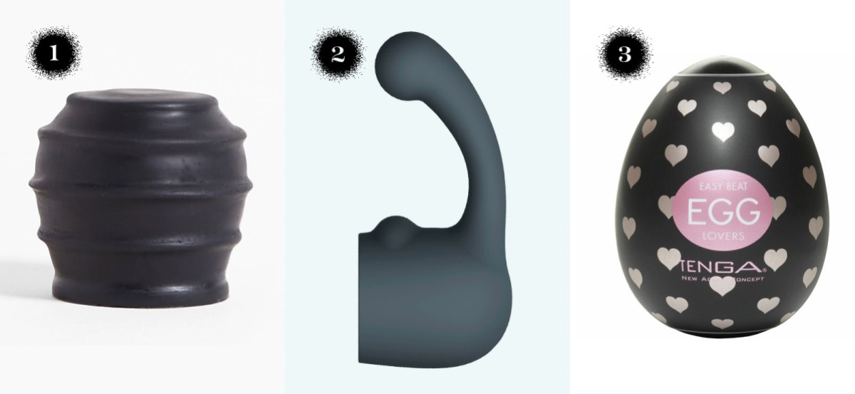 The pop tops silicone wand attachment, the le wand curve weighted silicone attachment, the tenga egg six-pack.