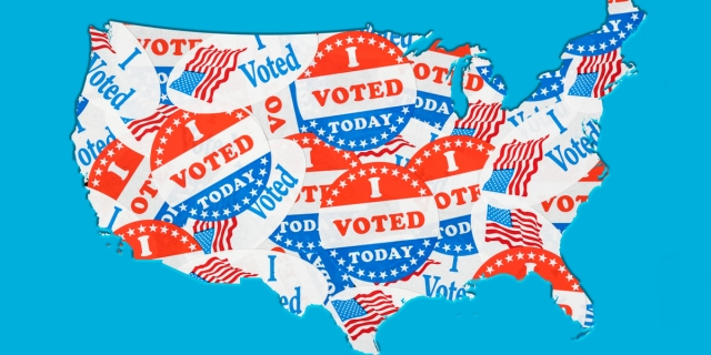 "the shape of the US covered in ""I voted today"" stickers"