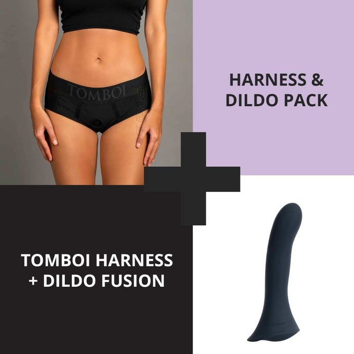 Strap on harness kit, shows a photo of a dark blue dildo and a person wearing a pair of underwear with an o ring.