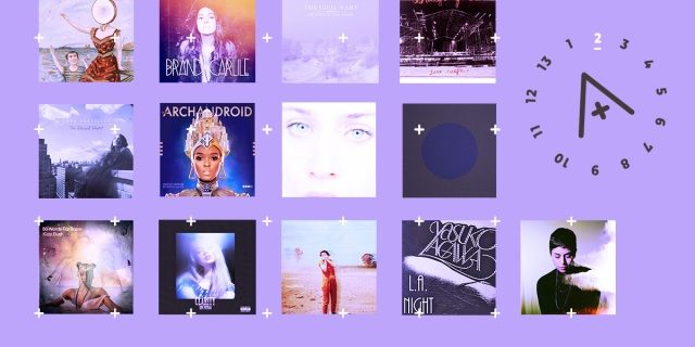 The feature image displays many of the albums that are featured in the playlist in this post. It also has the number 2 of 13 digits highlighted in a circular countdown around the A+ logo, all with a calming lavender background.