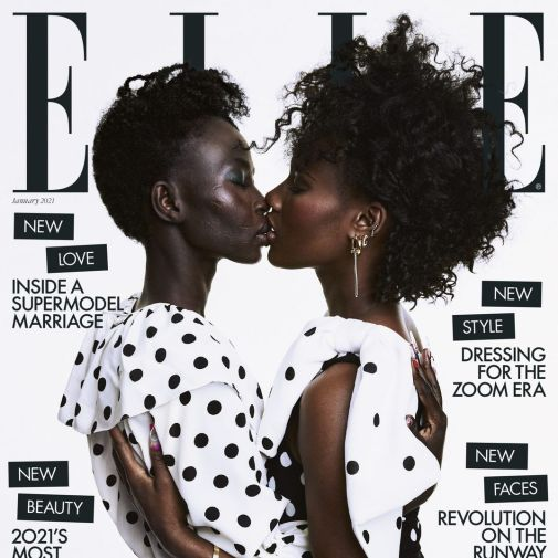 Cover of Elle UK Magazine, showing two black women in polka-dot clothing embracing and nearly sharing a kiss.