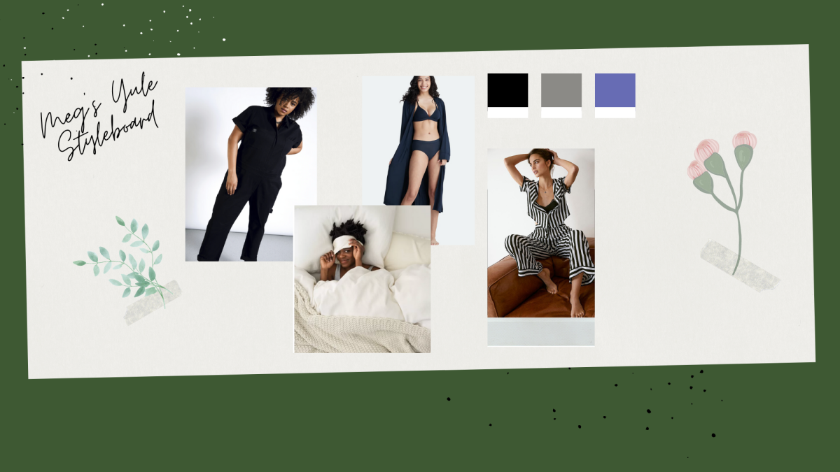 A collage featuring clothes that Meg would wear during Yule. Including a jumpsuit, robe, striped pajama set and more all on a olive green background.
