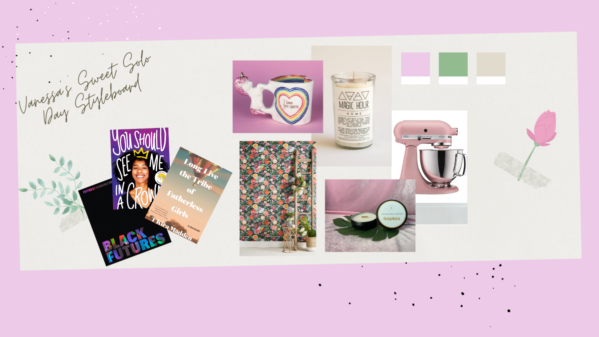 A collage featuring items for Vanessas relaxing day. Including 3 books, a pale pink kitchen aid mixer, floral wallpaper, a unicorn mug, and a tall white candle.