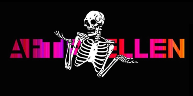 A shrugging skeleton is photoshopped over the AfterEllen company logo (which has the words AfterEllen in hot pink and orange on top of a jet black background).