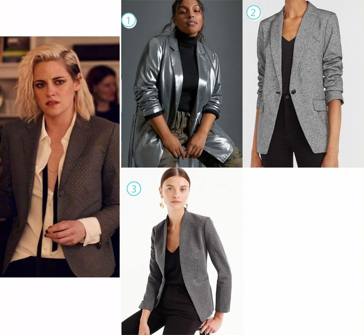 A variety of silver blazers like Kristen Stewart's Happiest Season fashion.