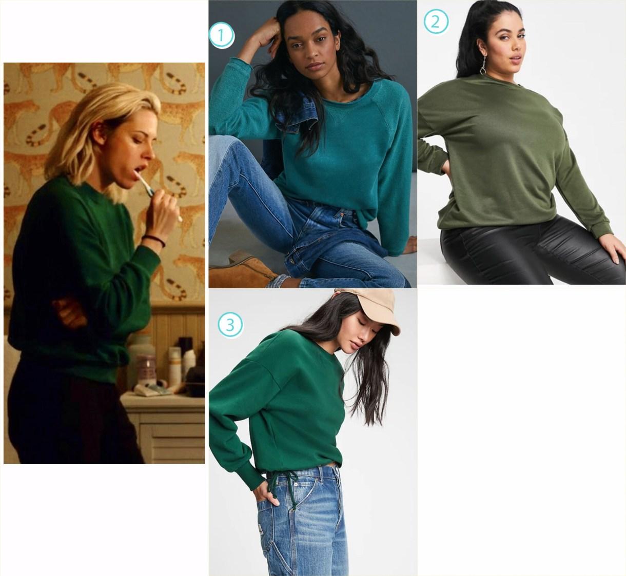 A selection of green sweatshirts for fashion like Kristen Stewart in Happiest Season.