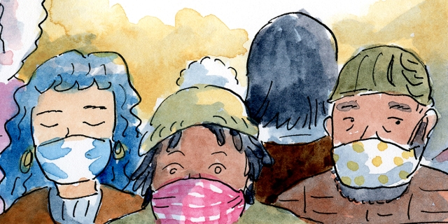 A variety people of different races, gender, and ages all wear facemarks in this soft watercolor.