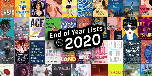 collage of book covers from 2020 with a text sticker in the center that reads END OF YEAR LISTS 2020