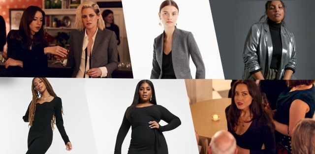 "A collage of ""Happiest Season"" fashion: Kristen Stewart as Abby in a silver blazer, along side to models also wearing silver blazers. Then Aubrey Plaza as Riley in a black dress, alongside two other models in black dresses."