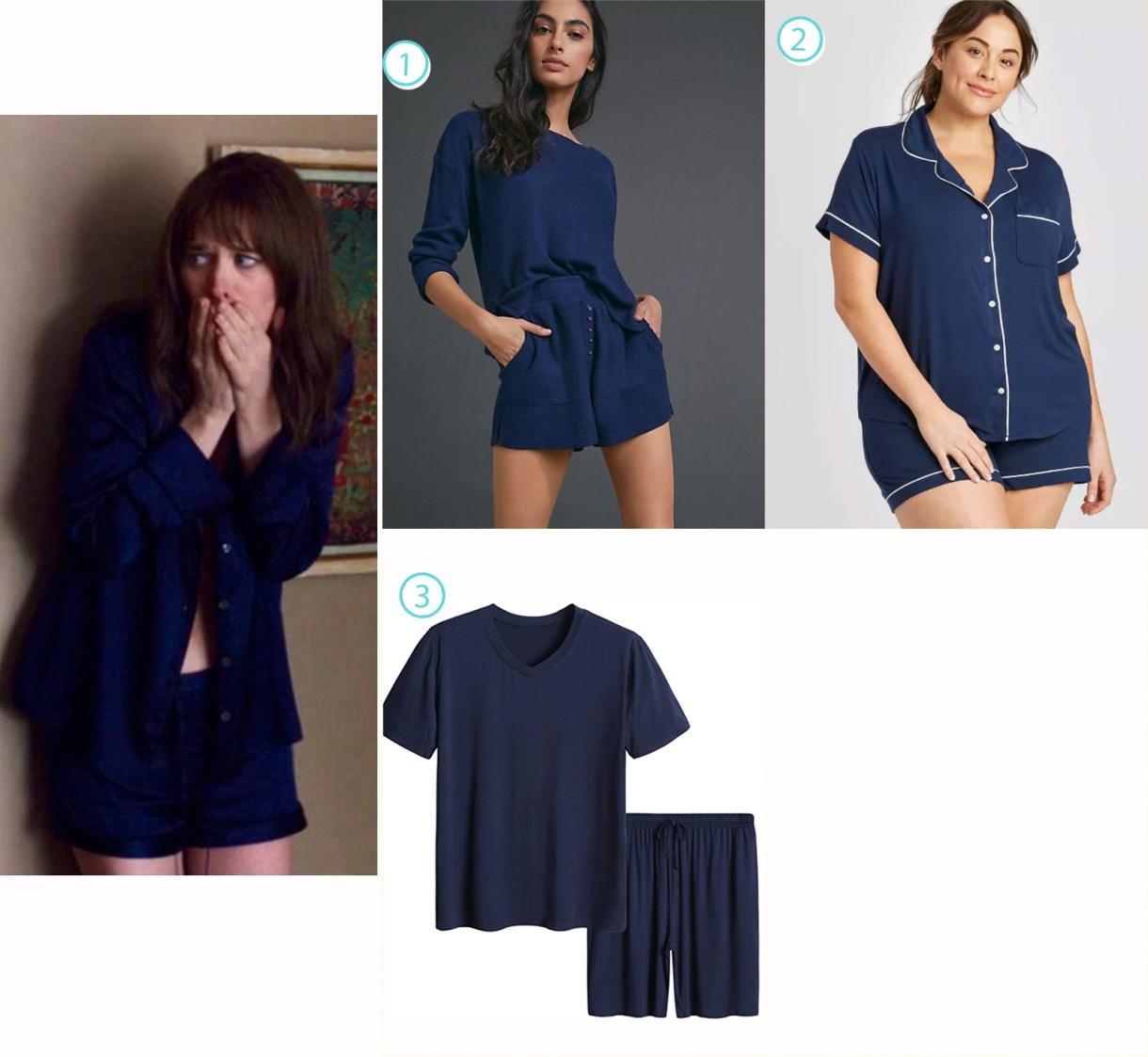 A variety of matching blue pajama sets like Harper