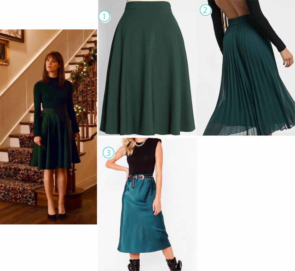 A variety of knee-length green skirts like Harper in Happiest Season