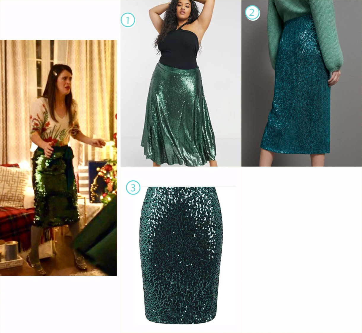 A variety of knee length sparkly green skirts like Jane in Happiest Season's fashion.
