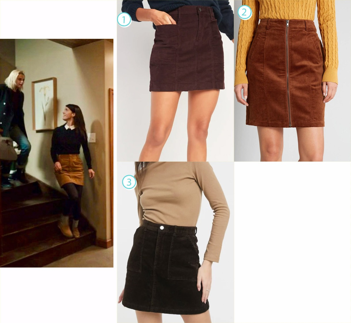 A variety of short brown skirts like Jane in Happiest Season's fashion.