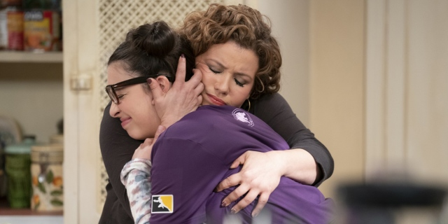 "A still from the series ""One Day at a Time"" in which Elena Alvarez falls into the arms of her mother Penelope and cries."