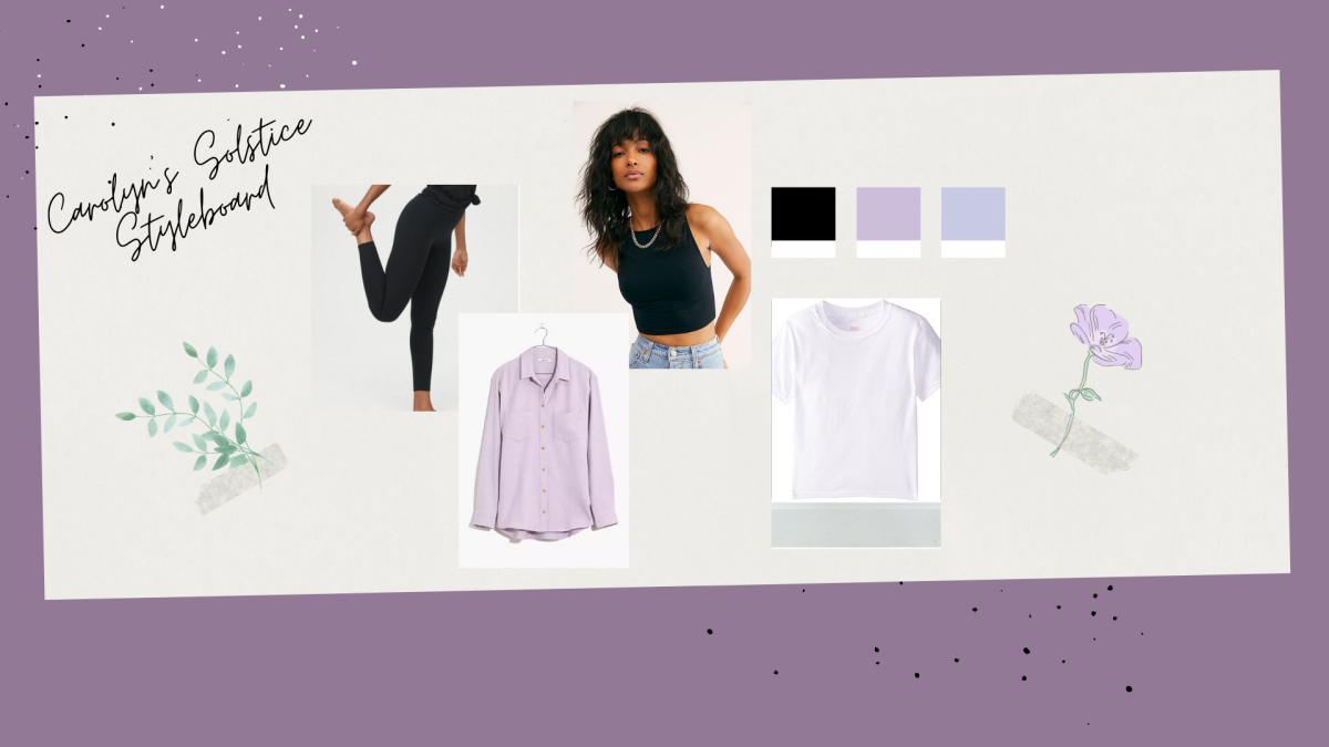 a collage of clothing photos featuring A black halter style bra, A childrens pure white t-shirt, A lavender flannel and a pair of black leggings.
