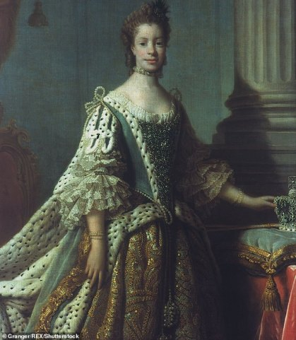image shows the real life Queen Charlotte, wearing a regency era gown.